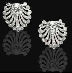 Pair of diamond clip Art Deco by Janesich