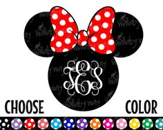 Disney Monogram Minnie Printable Iron On Transfer Chevron Dots Plain - DIY Disney Shirt Personalized Disney Minnie Head Disney World