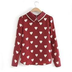 Cheap blouse fashion, Buy Quality fashion blouses directly from China long sleeve blouse Suppliers: Blusas Femininas 2017 New Fashion Womens Spring Smmer Korean Red Heart Shirts Print Casual Long Sleeve Blouses For Ladies Tops Red Blouses, Blouses For Women, Jw Moda, Girly, Heart Shirt, Blouse Vintage, Blouse Patterns, Mode Style, Preppy Style