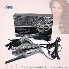 FMK Profesyonel Şekillendirici aracı Set Saç düzleştirici düz demir + Saç kurutma makinesi + Kıvırma Demir düz irons değnek sıcak bigudi avrupa fiş