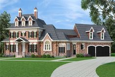 Front elevation of French home (ThePlanCollection: House Plan #106-1290)