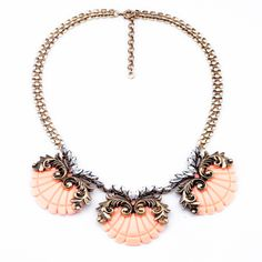 Vintage Alloy Necklace With Nice Shell Pendant In Light Coral Color