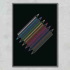 Få stilfuld kulør på væggen med denne omhyggeligt sammensatte kollektion af optisk organiserede farveblyanter! Design, Minimalism, Design Comics