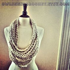 the anchorage scarf   // wheat by OwlsNestCrochet on Etsy, $25.00