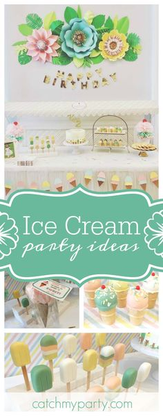 Don't miss this gorgeous Ice Cream themed birthday party. The ice cream cake pops are so cute! See more party ideas and share yours at CatchMyParty.com