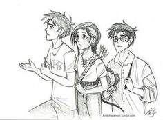 Percy, Katniss and Harry by AndytheLemon