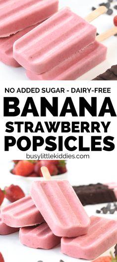 4-ingredient Strawberry Banana Popsicles