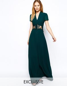 Jarlo | Jarlo Kelly Maxi Dress With Cap Sleeve and Lace Insert at ASOS