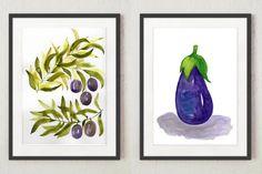 Set of 2 Vegetables Original Watercolor Paintings Watercolor Water, Watercolor Art Paintings, Watercolor Leaves, Abstract Watercolor, Original Paintings, Watercolors, Purple Wall Art, Colorful Wall Art, Floral Wall Art