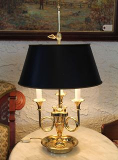 Baldwin Brass Trumpet French Horn 3 Arm Bouillotte Table Lamp Orig ...