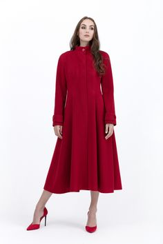 Cashmere Coat, Beautiful Lines, Black Ribbon, Cherry Red, Wool Coat, Silk Dress, Coats For Women, Stitching, Winter Fashion