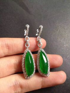 Collectible perfect clear icy royal green jade diamond embellished dangle earrings ~ inquiry