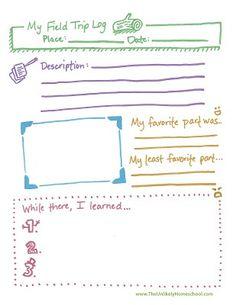 The Unlikely Homeschool: Field Trip Log Printable