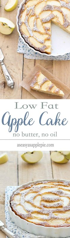 This low fat apple cake is super moist, flavorful and delicious! Plus, it's really low in calories due to the fact there is no butter or oil. Only 116 calories per slice!