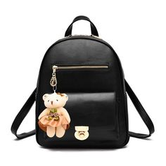 Durable Solid Black Faux Leather with Keychain Women Small Casual Travel  Backpack Trend Sewing Pattern Stylish Preppy School Book Bag e3d2e739fbe3d