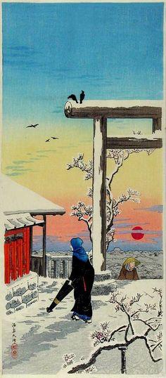HIROAKI (Shotei)   'Shrine in snow at sunset'