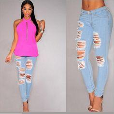 2016 Women's fashion Sexy High Waist Pencil Jeans