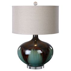 Uttermost Lakselva Teal Blue Ceramic Lamp