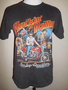 3aaac0f0 Vintage 80s 1987 Harley Davidson Motorcycles Elvis Rockin N Rollin Biker T  Shirt Top harley davidson t shirt harley t shirt biker