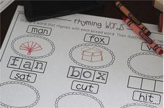 Stamping Rhyming Words (from Miss Kindergarten) Rhyming Kindergarten, Kindergarten Literacy Stations, Kindergarten Special Education, Special Education Teacher, Literacy Centers, Autism Activities, Sorting Activities, Alphabet Stamps, Jolly Phonics
