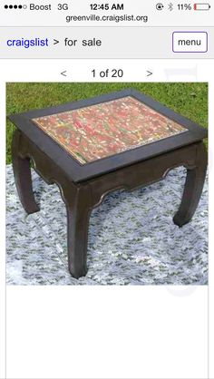 Opium Style Table- Painted Dark Brown- Center covered with antique cigar wraps