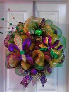 Large Mardi Gras Deco Mesh Wreath. .