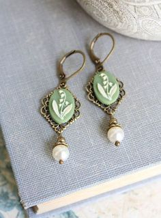 Lily of the Valley Earrings Pearl Dangle by apocketofposies