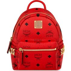 MCM Stark stud detail extra-mini backpack ($660) ❤ liked on Polyvore featuring bags, backpacks, ruby red, day pack backpack, rucksack bag, mcm, mcm bags and mini backpack