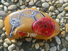 Heart Painting, Rock Painting, Rock Art, Painted Rocks, Nostalgia, Keys, Hearts, Rocks, Pebble Stone
