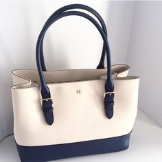 Kate Spade Airel Colorblock Tote Navy Blue and Cream Kate Spade Tote, brand new in original packaging and tag. Beautiful bag for your collection! kate spade Bags Totes