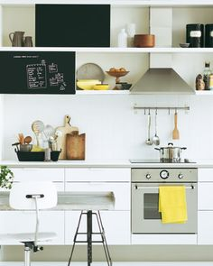 black & white & yellow + new cutting boards! Genius chalkboard addition to the shelves.