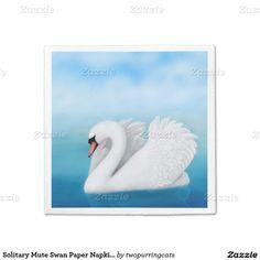 Solitary Mute Swan Paper Napkins  #swan  #napkins