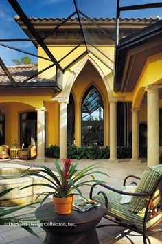 Sater Designs 6942 Marrakesh home plans rear veranda from our Mediterranean Home Portfolio. World Decor, Mediterranean Design, Hacienda Style, Luxury House Plans, Tuscan Style, Spanish Style, Luxury Villa, My Dream Home, Outdoor Living