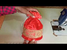 How to make potali batva at home Textile Patterns, Clothing Patterns, Shrug For Dresses, Baby Dresses, Baby Frocks Designs, Potli Bags, Bunny Crafts, Diy Crafts, Fabric Gift Bags