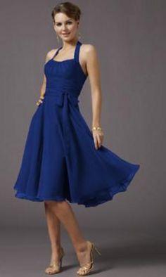Knee Length Formal Dress, Halter Formal Dresses- Simply Dresses