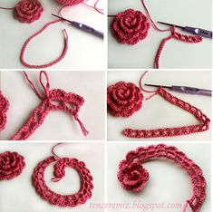 Crochet flower-Tutorial is completely in Turkish, but the photos are beautiful and easy to understand and with the help of Google translate you can read anything you don't understand.