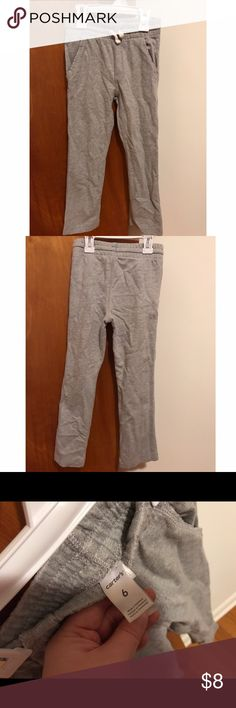 Carter's boys sweat pants Carter's boys gray sweatpants size 6. My son hit growth spurt so sadly no longer fits. Very comfy and must have for winter or year round. I have the same pair in black as well! Bundle and save! May have minor wash wear as they are pre-owned. Lots of life left in them. They have pockets and drawstring waist. Carter's Bottoms Sweatpants & Joggers