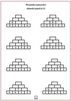 Piramida numerelor. Exerciții de adunare și scădere 1st Grade Math, Grade 1, Second Grade, Maths Puzzles, Math Worksheets, Math Games, Preschool Activities, Escape The Classroom, Math Websites