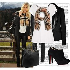 Burberry, black and white outfit