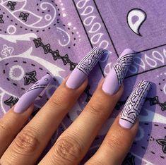 Glam Nails, Fancy Nails, Cute Nails, Long Nail Designs, Cute Acrylic Nail Designs, Sweet 16 Nails, Purple And Pink Nails, Bandana Nails, Arylic Nails
