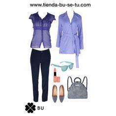 Blusa gasa azul, gabardina azul, skiny marino