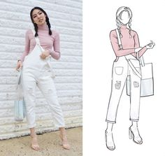 Get this look: http://lb.nu/look/8721349  More looks by Yona L: http://lb.nu/everlastingpure  Items in this look:  Zaful Pink Turtleneck Top, Zaful White Denim Overalls, Forever 21 Clear Perspex Heels   #casual #chic #grunge #pigtails #braids #braid #denim #dungarees #overalls