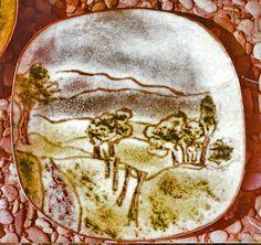 """Schale: """"Voralpen"""", Malemail, ca 20 x 20 cm"""