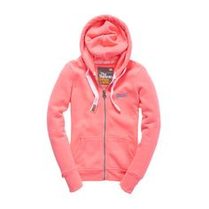 Orange Label Zip Hoodie ($90) ❤ liked on Polyvore featuring tops, hoodies, outerwear, sweaters, pink, faded neon pink, red zip hoodie, pink hooded sweatshirt, neon pink hoodie and pink hoodie