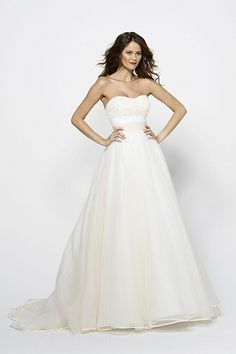 Ingrid gown- Ivory washed silk organza sculpted strapless gown with tonal  ivory silk taffeta db0979495f10