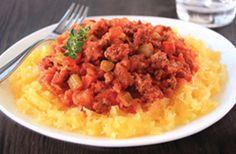Hungry Girl's Healthy Spaghetti Squash Bolognese Recipe Ww Recipes, Low Calorie Recipes, Snack Recipes, Cooking Recipes, Healthy Recipes, Skinny Recipes, Healthy Dinners, Cooking Tips, Light Recipes