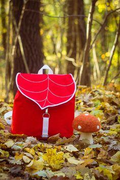 Red Leaf Mini Backpack, Women's Rucksack, Boho Festival Backpack, Waterproof Hipster Backpack , Toddler Backpack, Small Rucksack