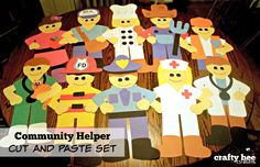 Community Helper Cut and Paste Set that includes patterns and directions for copying and tracing by hand.