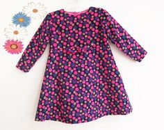 BRIGHT FLOWERS Baby Girl Dress sewing pattern Pdf, Long Sleeves, toddler, Baby Girls newborn 3 6 9 12 18 m 2 yrs Instant Download