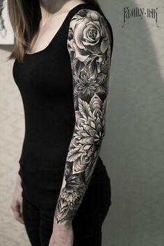 Sleeve tattoo blackwork. Mandalas and roses by Family Ink